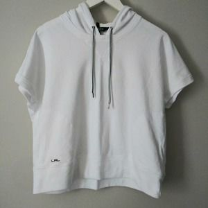 Ralph Lauren white cropped pullover hoodie Large
